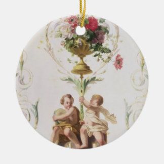 Putti amid swags of flowers and leaves ceramic ornament