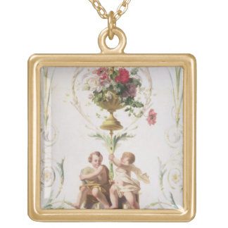 Putti amid swags of flowers and leaves gold plated necklace