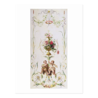 Putti amid swags of flowers and leaves postcard