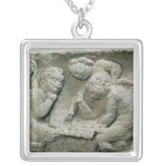 Putti playing latronculi silver plated necklace
