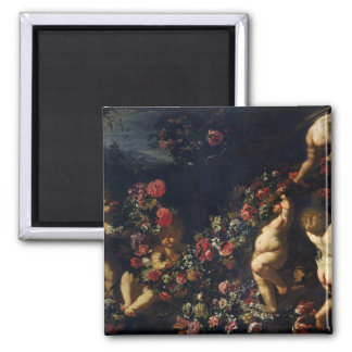 Putti Playing with Garlands of Flowers Magnet