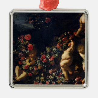Putti Playing with Garlands of Flowers Metal Ornament