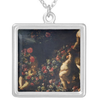 Putti Playing with Garlands of Flowers Silver Plated Necklace