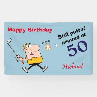 Puttin' Around 50 Golf Birthday Party Banner