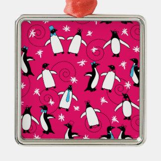 Puttin del pingüino en el Ritz Adorno Navideño Cuadrado De Metal