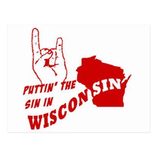 Puttin el pecado en Wisconsin Tarjeta Postal