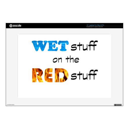 Puttin la materia mojada en la materia roja portátil calcomanías