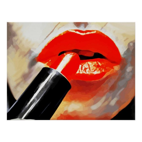 Putting Red Lipstick On Makeup Abstract Art Poster