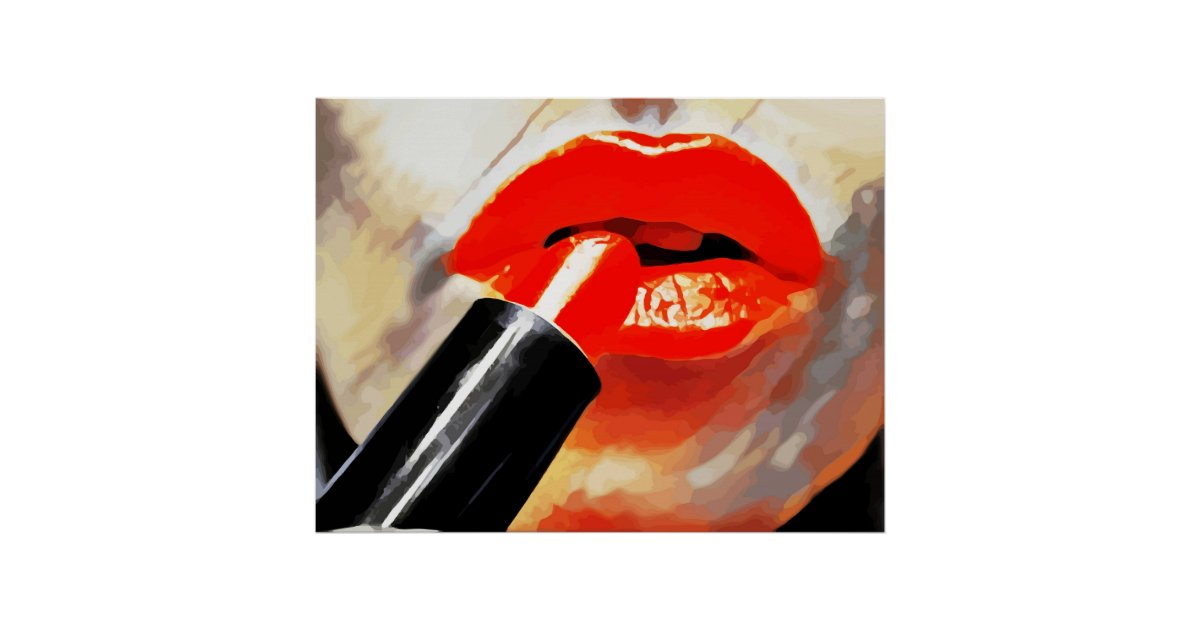 Putting Red Lipstick On Makeup Abstract Art Poster Zazzle Com