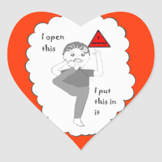 Putting your foot in mouth joke products heart sticker