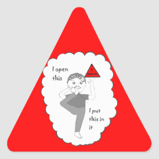 Putting your foot in mouth joke products triangle sticker