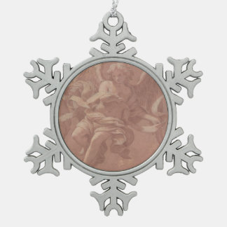 Putto and Angel Holding a Banderole Snowflake Pewter Christmas Ornament