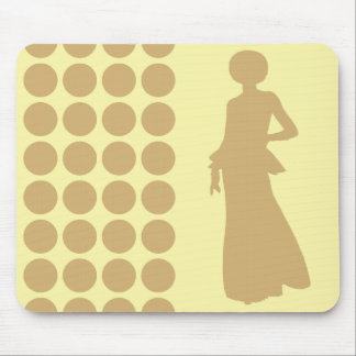 Putty Cream Neutral Dots Fashion Silhouette Mouse Pad