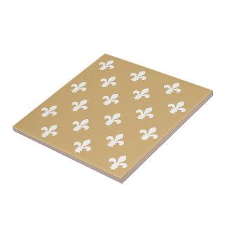 Putty Neutral Fleur de Lys Ceramic Tile