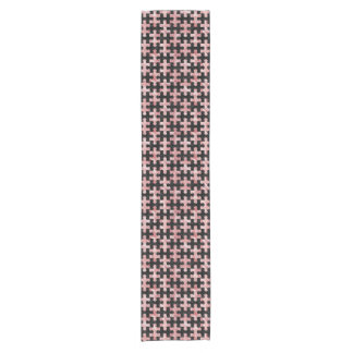 PUZZLE1 BLACK MARBLE & RED & WHITE MARBLE SHORT TABLE RUNNER