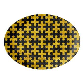 PUZZLE1 BLACK MARBLE & YELLOW MARBLE PORCELAIN SERVING PLATTER