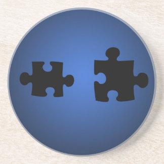 Puzzle649 PUZZLE PIECES BLACKS BLUES DIGITAL WALL Drink Coaster