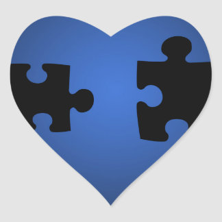 Puzzle649 PUZZLE PIECES BLACKS BLUES DIGITAL WALL Heart Sticker