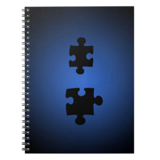 Puzzle649 PUZZLE PIECES BLACKS BLUES DIGITAL WALL Spiral Notebook
