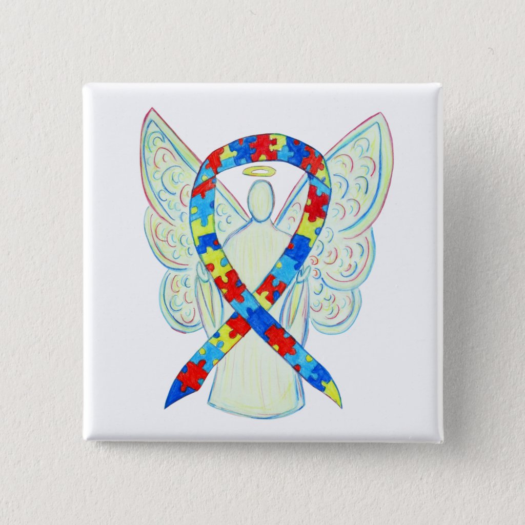 Puzzle Angel Autism Awareness Ribbon Art Pins