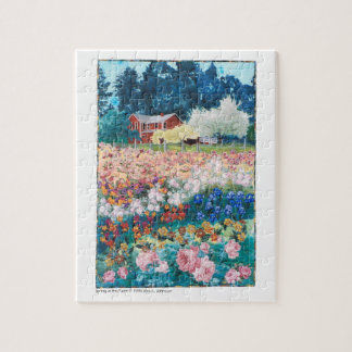 puzzle - art quilt Spring at the Farm