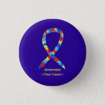 Puzzle Autism Awareness Ribbon Custom Button Pin