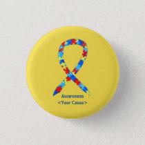 Puzzle Autism Awareness Ribbon Custom Button Pins