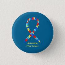 Puzzle Autism Awareness Ribbon Custom Pin Buttons