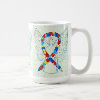 Puzzle Awareness Ribbon Angel Art Mug