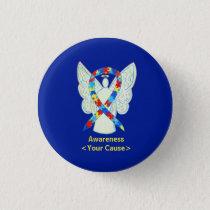 Puzzle Awareness Ribbon Angel Art Pin Button