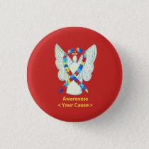 Puzzle Awareness Ribbon Angel Art Pin Buttons