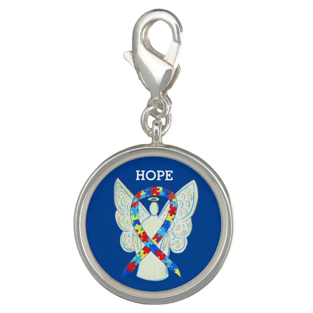 Puzzle Awareness Ribbon Angel Charm Bracelet