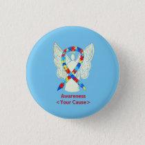 Puzzle Awareness Ribbon Angel Custom Art Pins