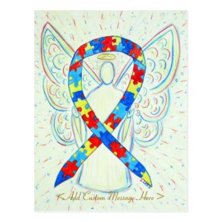 Puzzle Awareness Ribbon Angel Custom Art Postcard