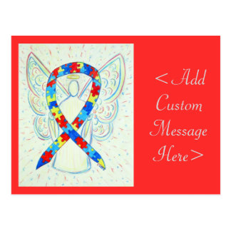 Puzzle Awareness Ribbon Angel Custom Art Postcard