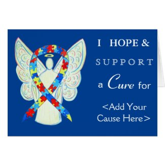 Puzzle Awareness Ribbon Angel Custom Greeting Card
