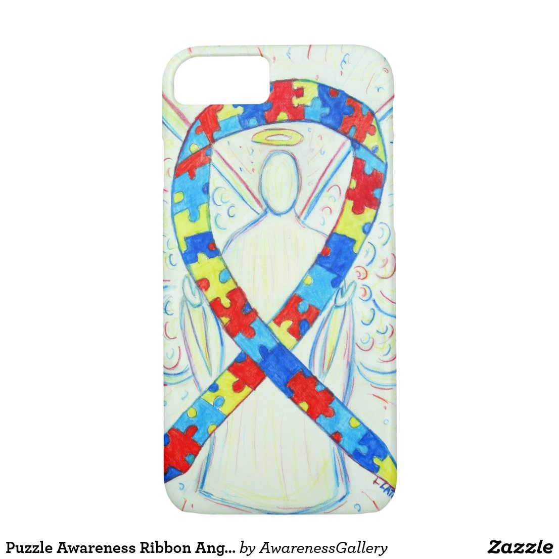 Puzzle Awareness Ribbon Angel Custom iPhone 7 Case
