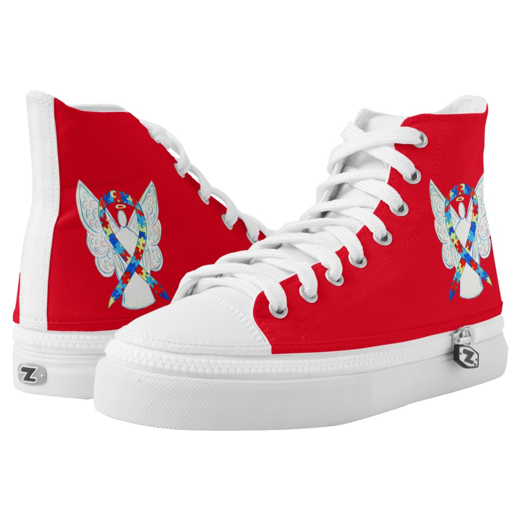 Puzzle Awareness Ribbon Angel Custom Shoes