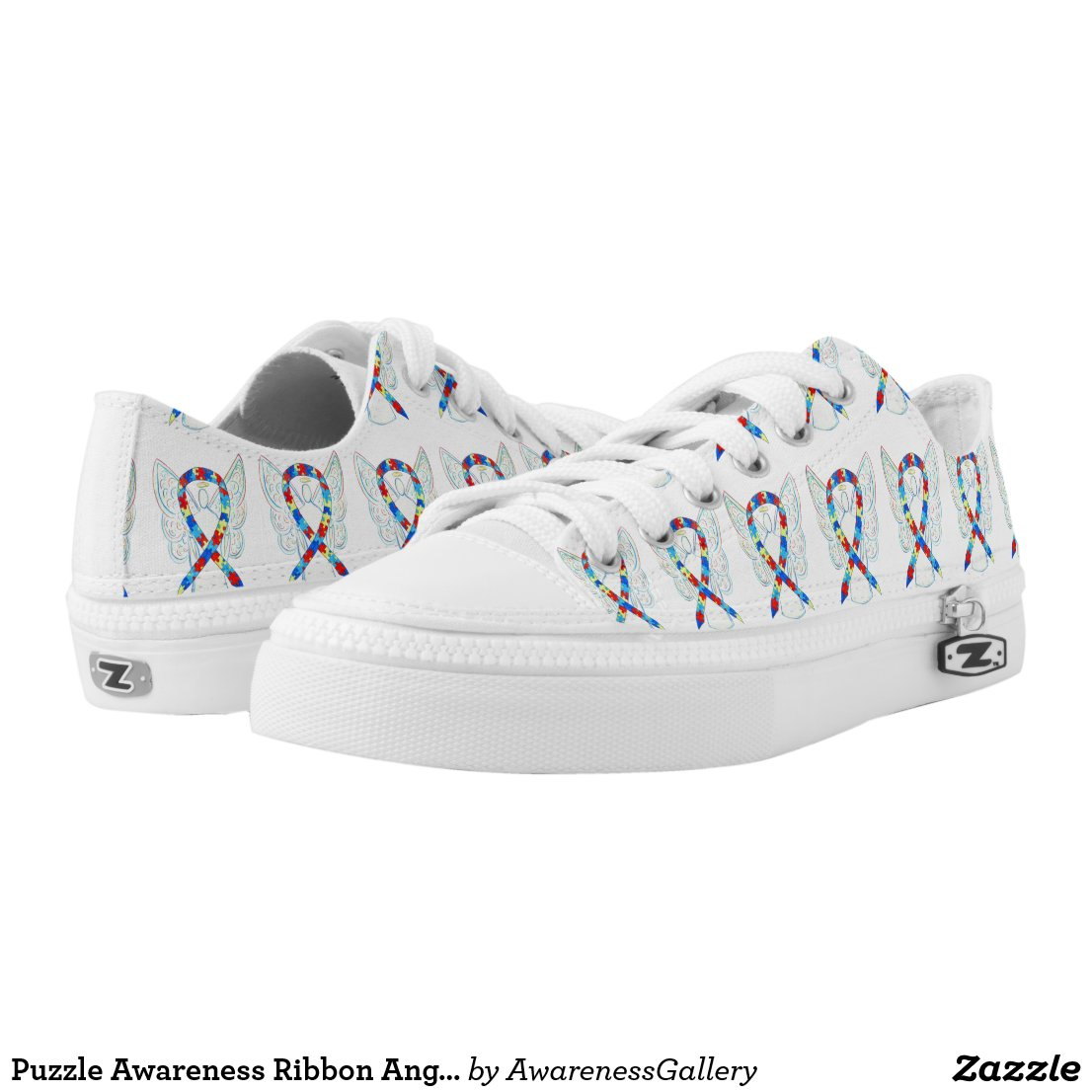 Puzzle Awareness Ribbon Angel Custom Sneakers