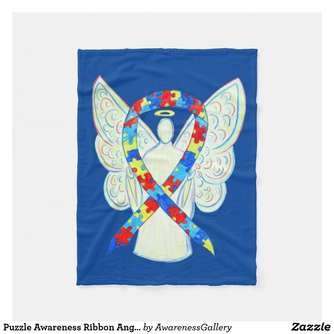 Puzzle Awareness Ribbon Angel Custom Soft Blanket