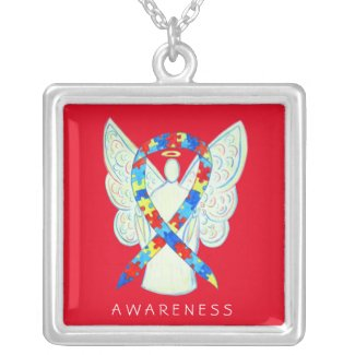 Puzzle Awareness Ribbon Angel Jewelry Necklace