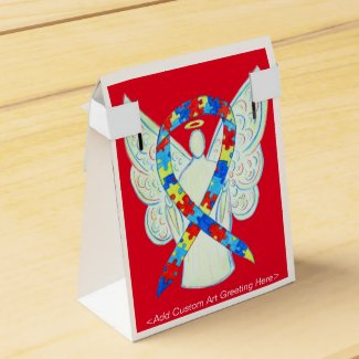 Puzzle Awareness Ribbon Angel Party Favor Box