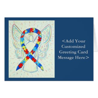 Puzzle Awareness Ribbon Angel Personalized Cards