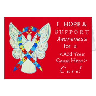 Puzzle Awareness Ribbon Custom Angel Cards