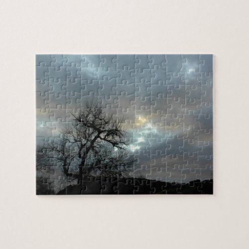Puzzle: Bare Oak in Winter under Stormy Sky Jigsaw Puzzle