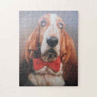 Puzzle Basset Hound In Red Bow Tie
