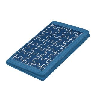 puzzle blue trifold wallets