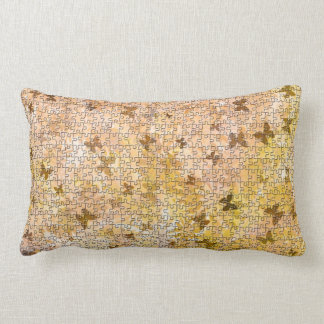 Puzzle Butterflies and Daisies-Browns by STaylor Lumbar Pillow