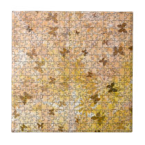 Puzzle Butterflies and Daisies-Browns by STaylor Tile