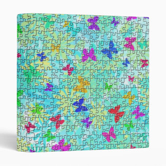 Puzzle Butterflies and Daisies-Colorful by STaylor 3 Ring Binder